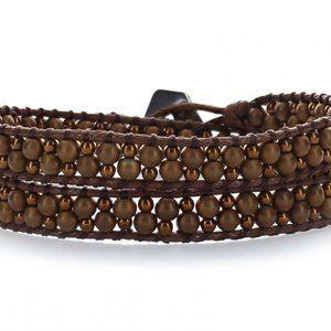 NEW Handmade Brown Double Wrap Bracelet Choker NWT